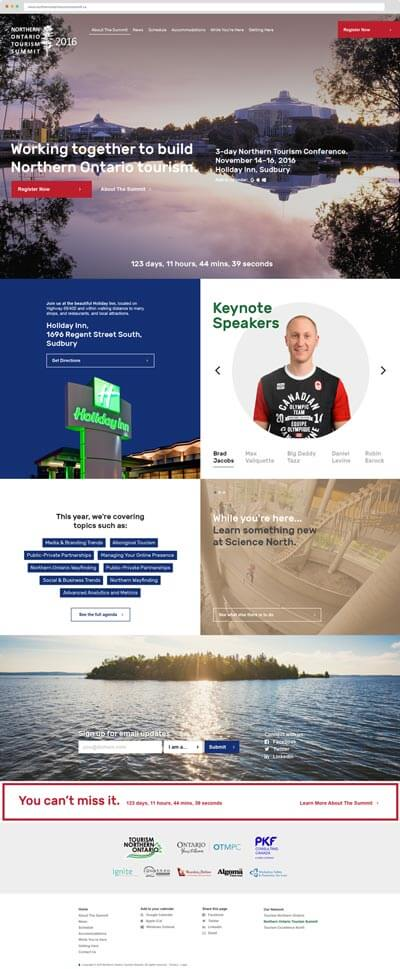 Northern Ontario Tourism Summit website homepage screenshot