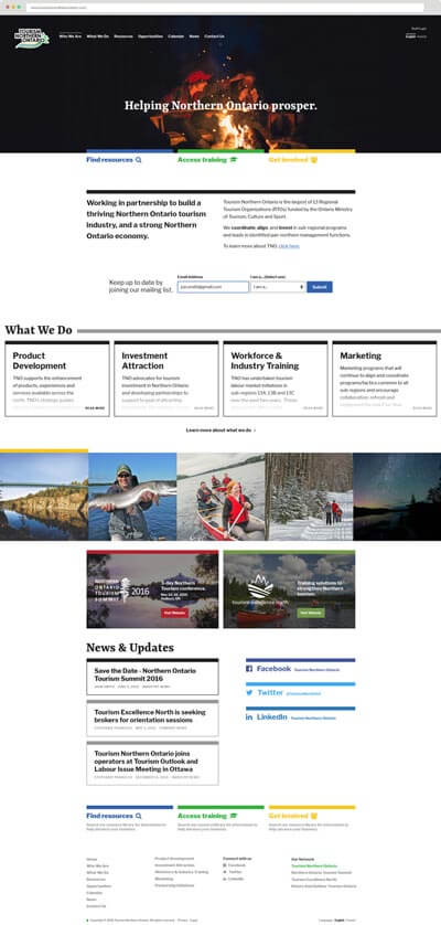 Tourism Northern Ontario website homepage screenshot