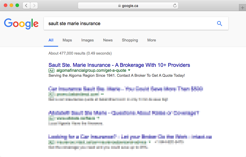 Search results page showing Algoma Insurance Brokers ad
