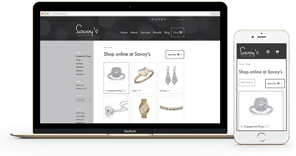 Savoy's Jewellers ecommerce website shown on a Macbook and iPhone