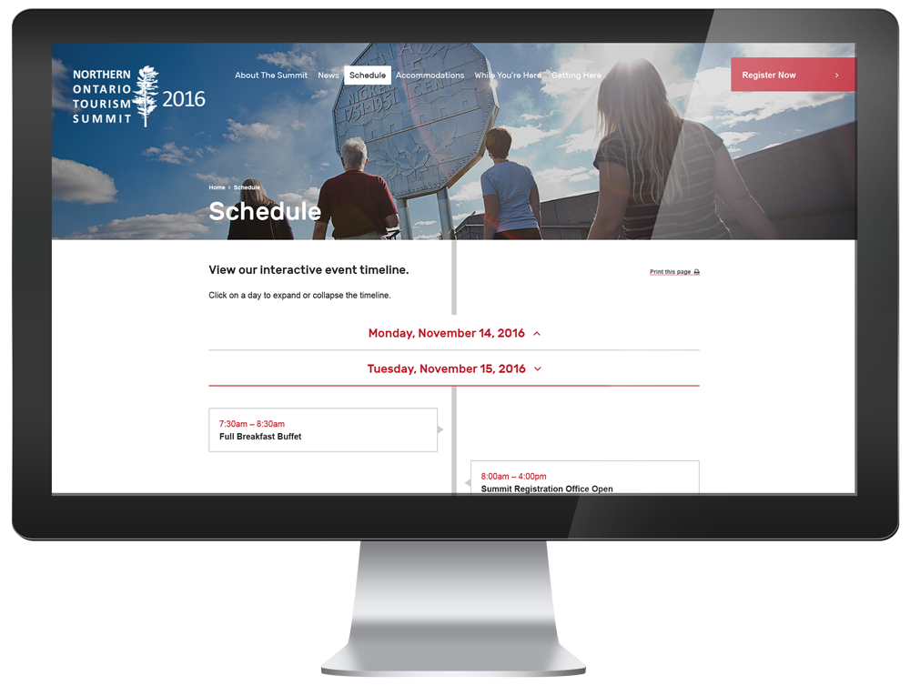 Northern Ontario Tourism Summit website, shown on an iMac