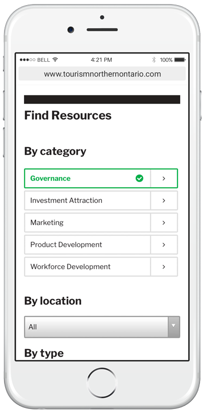 TNO's resource directory on an iPhone