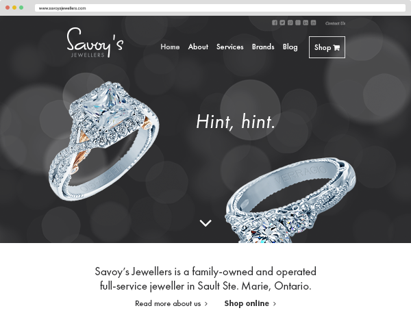 Savoy's Jewellers homepage, featuring a large brand-focused header with subtle animation.